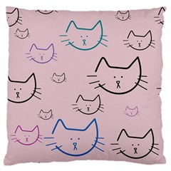 Cat Pattern Face Smile Cute Animals Beauty Standard Flano Cushion Case (one Side)
