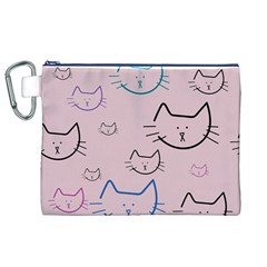 Cat Pattern Face Smile Cute Animals Beauty Canvas Cosmetic Bag (xl)