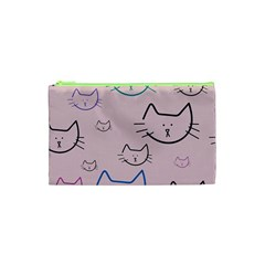 Cat Pattern Face Smile Cute Animals Beauty Cosmetic Bag (xs)