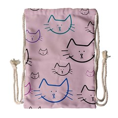 Cat Pattern Face Smile Cute Animals Beauty Drawstring Bag (large)