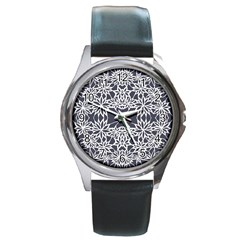 Blue White Lace Flower Floral Star Round Metal Watch