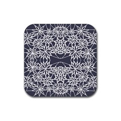 Blue White Lace Flower Floral Star Rubber Square Coaster (4 Pack)