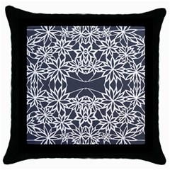 Blue White Lace Flower Floral Star Throw Pillow Case (black)