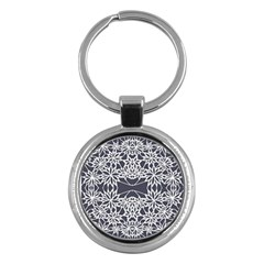 Blue White Lace Flower Floral Star Key Chains (round)