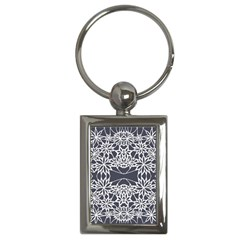 Blue White Lace Flower Floral Star Key Chains (rectangle)