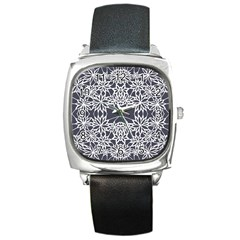 Blue White Lace Flower Floral Star Square Metal Watch