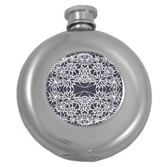 Blue White Lace Flower Floral Star Round Hip Flask (5 Oz)