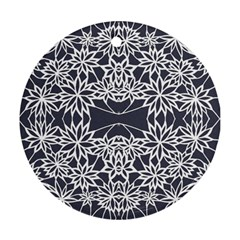 Blue White Lace Flower Floral Star Round Ornament (two Sides)