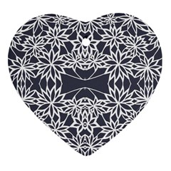 Blue White Lace Flower Floral Star Heart Ornament (two Sides)
