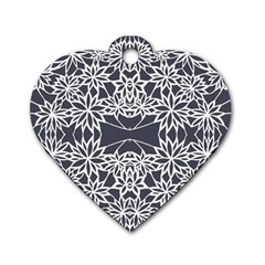 Blue White Lace Flower Floral Star Dog Tag Heart (two Sides)