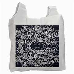 Blue White Lace Flower Floral Star Recycle Bag (one Side)