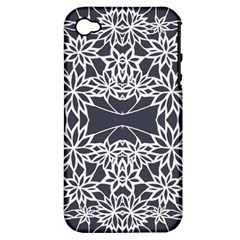 Blue White Lace Flower Floral Star Apple Iphone 4/4s Hardshell Case (pc+silicone)