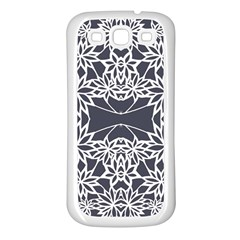 Blue White Lace Flower Floral Star Samsung Galaxy S3 Back Case (white)