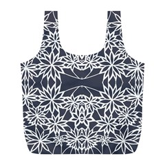 Blue White Lace Flower Floral Star Full Print Recycle Bags (l)