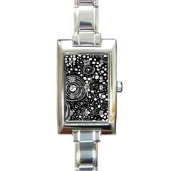 Circle Polka Dots Black White Rectangle Italian Charm Watch