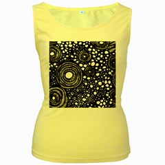 Circle Polka Dots Black White Women s Yellow Tank Top