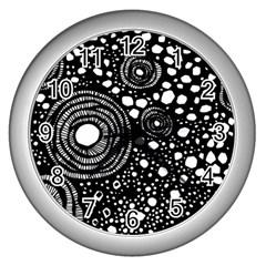 Circle Polka Dots Black White Wall Clocks (silver)