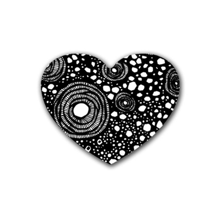 Circle Polka Dots Black White Rubber Coaster (Heart)