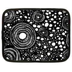Circle Polka Dots Black White Netbook Case (large)