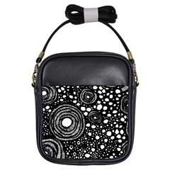 Circle Polka Dots Black White Girls Sling Bags