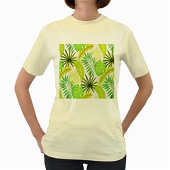 Amazon Forest Natural Green Yellow Leaf Women s Yellow T Shirt