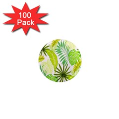 Amazon Forest Natural Green Yellow Leaf 1  Mini Magnets (100 Pack)