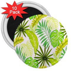 Amazon Forest Natural Green Yellow Leaf 3  Magnets (10 Pack)