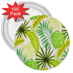 Amazon Forest Natural Green Yellow Leaf 3  Buttons (100 Pack)