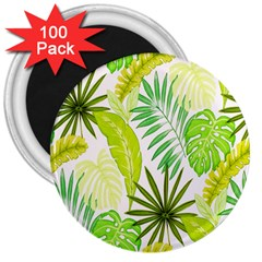Amazon Forest Natural Green Yellow Leaf 3  Magnets (100 Pack)