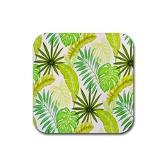 Amazon Forest Natural Green Yellow Leaf Rubber Coaster (square)