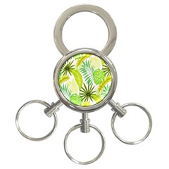 Amazon Forest Natural Green Yellow Leaf 3 Ring Key Chains