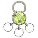 Amazon Forest Natural Green Yellow Leaf 3-Ring Key Chains Front