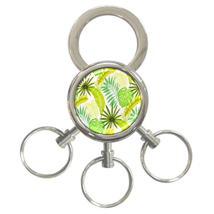 Amazon Forest Natural Green Yellow Leaf 3-Ring Key Chains