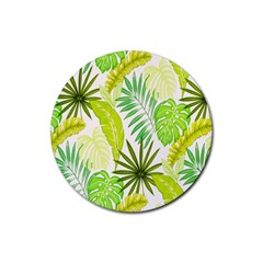 Amazon Forest Natural Green Yellow Leaf Rubber Round Coaster (4 Pack)