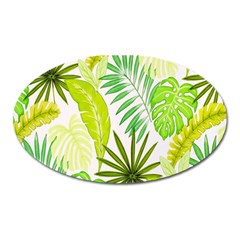 Amazon Forest Natural Green Yellow Leaf Oval Magnet