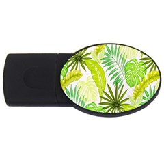Amazon Forest Natural Green Yellow Leaf Usb Flash Drive Oval (2 Gb)