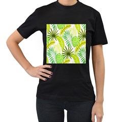 Amazon Forest Natural Green Yellow Leaf Women s T Shirt (black) (two Sided)