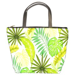 Amazon Forest Natural Green Yellow Leaf Bucket Bags