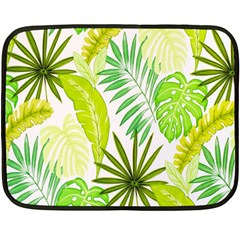 Amazon Forest Natural Green Yellow Leaf Double Sided Fleece Blanket (mini)