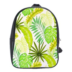 Amazon Forest Natural Green Yellow Leaf School Bag (large)