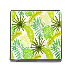 Amazon Forest Natural Green Yellow Leaf Memory Card Reader (square)