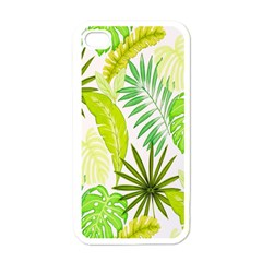 Amazon Forest Natural Green Yellow Leaf Apple Iphone 4 Case (white)