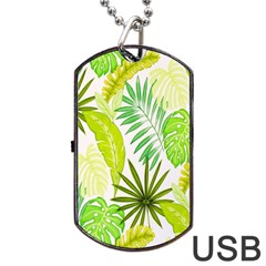 Amazon Forest Natural Green Yellow Leaf Dog Tag Usb Flash (two Sides)