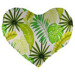 Amazon Forest Natural Green Yellow Leaf Large 19  Premium Heart Shape Cushions