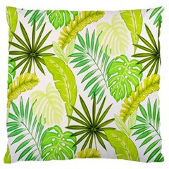 Amazon Forest Natural Green Yellow Leaf Large Flano Cushion Case (one Side)