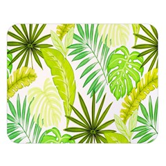 Amazon Forest Natural Green Yellow Leaf Double Sided Flano Blanket (large)