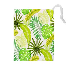 Amazon Forest Natural Green Yellow Leaf Drawstring Pouches (extra Large)