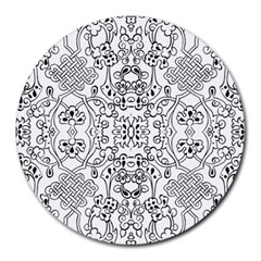 Black Psychedelic Pattern Round Mousepads
