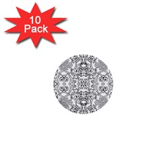 Black Psychedelic Pattern 1  Mini Buttons (10 Pack)