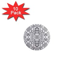 Black Psychedelic Pattern 1  Mini Magnet (10 Pack)